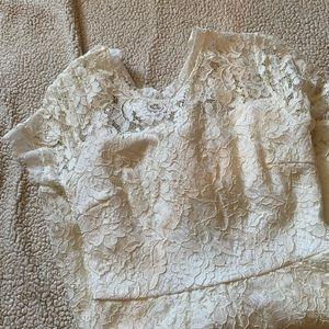 NWOT Backless White Lace Romper